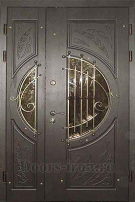 Дверь парадная двустворчатая с коваными решетками и стеклом