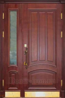 Дверь парадная двустворчатая со стеклом