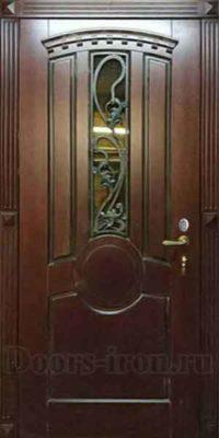 Стальная дверь для коттеджа с отделкой массив дуба