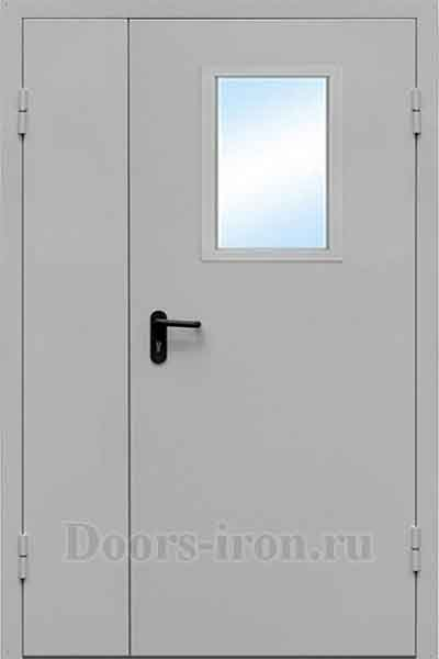 двустворчатая противопожарная дверь с окном для широких проёмов