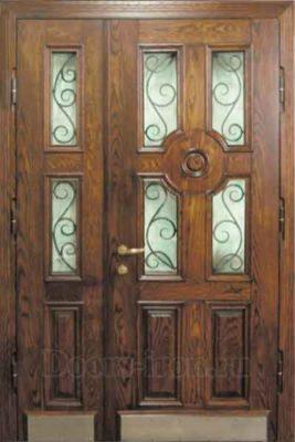 Дверь парадная двустворчатая с ковкой и стеклом