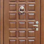 Входная дверь с отделкой дуба коричнево-оранжевая
