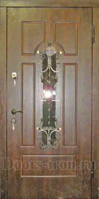 дверь с отделкой мдф пвх, ковкой и стеклом