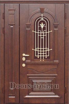 Двустворчатая входная дверь массив дерева