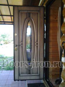 Дверь в сруб с отделкой мдф белая внутри