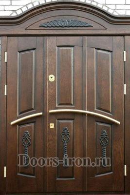 Дверь парадная двустворчатая элитная с добавками сверху