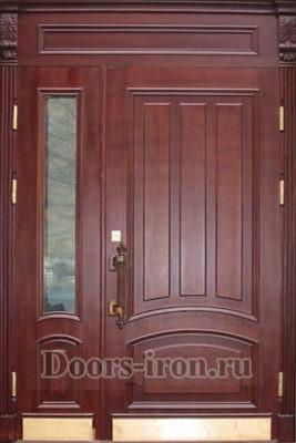 Дверь парадная двустворчатая со вставкой сверху и стеклом