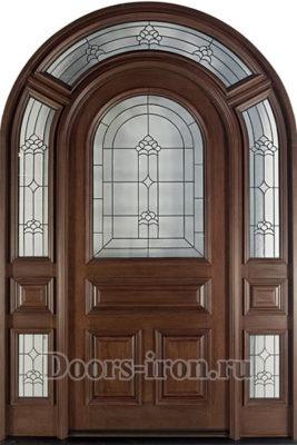 Дверь парадная одностворчатая арочная со вставками стекла
