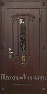 Дверь парадная одностворчатая со стеклом и ковкой