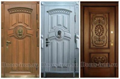 Двери с отделкой из массива дуба