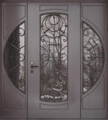 Дверь парадная с коваными решетками