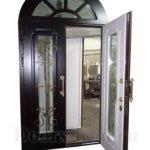 Арочная элитная дверь со стеклопакетом