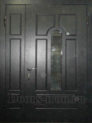 Двустворчатая утепленная дверь с отделкой мдф черная
