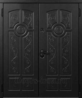 Двустворчатая утепленная дверь, черная