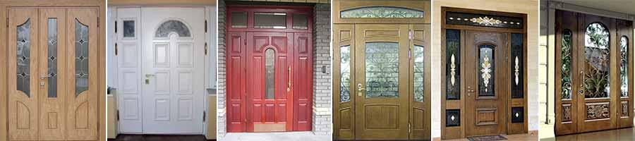 Широкие двери с витражным стеклом