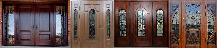 двустворчатая дверь красного цвета, со стеклом и элементами ковки