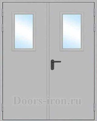 Противопожарная двустворчатая дверь со стеклом