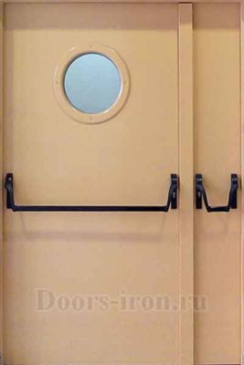Двустворчатая противопожарная дверь с круглым окном