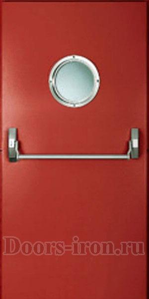 красная противопожарная дверь с круглым окном и ручкой