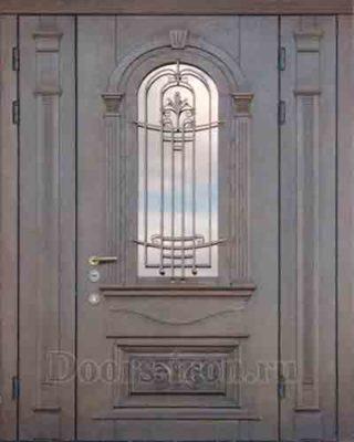 Дверь со стеклом и ковкой из ясеня