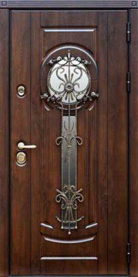 Входная металлическая дверь для дома с круглым стеклом