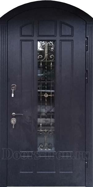 Арочная входная дверь со стеклом