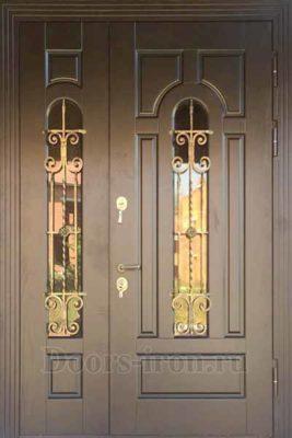 Двухстворчатая металлическая дверь со стеклом