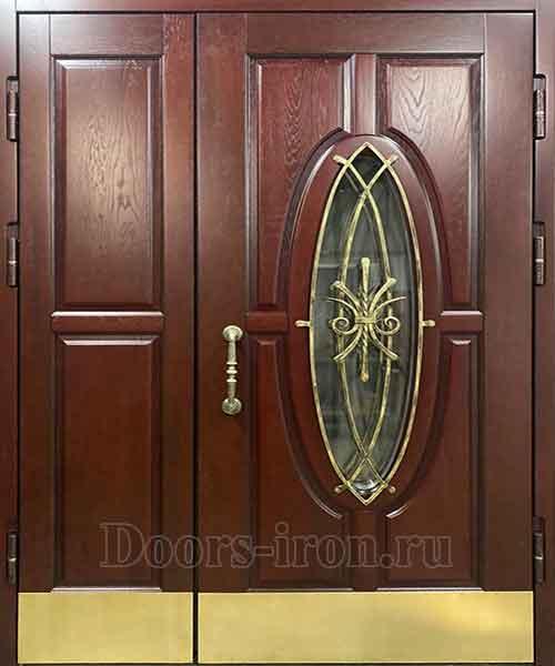 Двухстворчатая металлическая дверь с овальным стеклом и ковкой