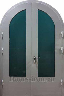 Арочная двустворчатая металлическая дверь со стеклом