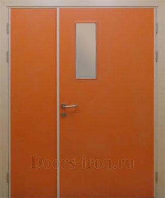 Полуторная оранжевая противопожарная дверь