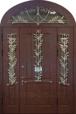 Двустворчатая арочная металлическая дверь с ковкой и стеклом