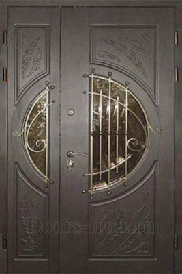 Дверь парадная двустворчатая с ковкой