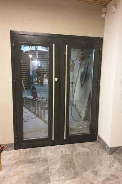 Металлическая двустворчатая входная двери со стеклом